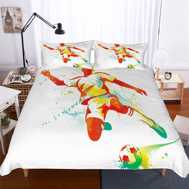 ชุดเครื่องนอน 3D พิมพ์ผ้านวมคลุมเตียงชุดฟุตบอลบ้านสิ่งทอสำหรับผู้ใหญ่เหมือนจริงผ้าปูกับปลอกหมอน # ZQ01