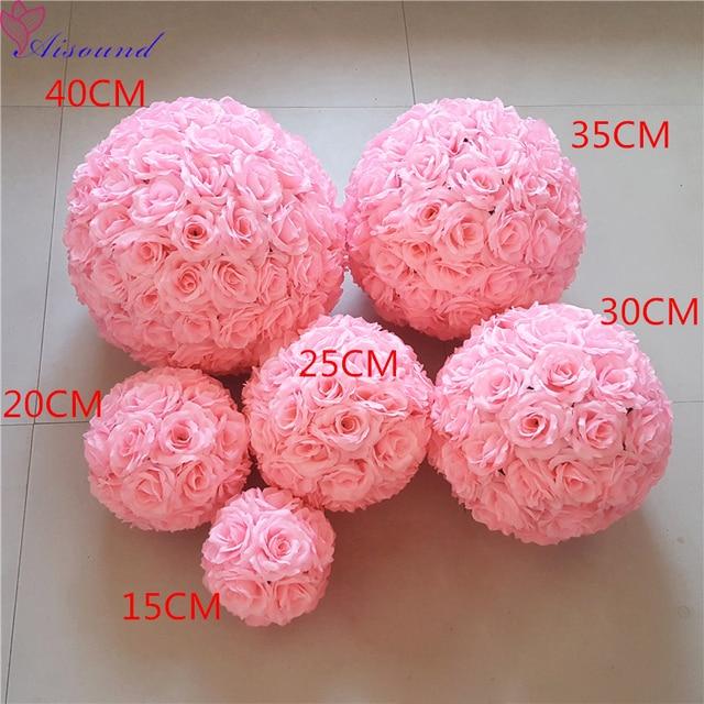10pcs 30cm Artificial Silk Flowers Ball Gold Silver Wedding