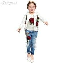 brand kids clothes set 3pcs/set clothes vest+outwears+jeans rose clothes