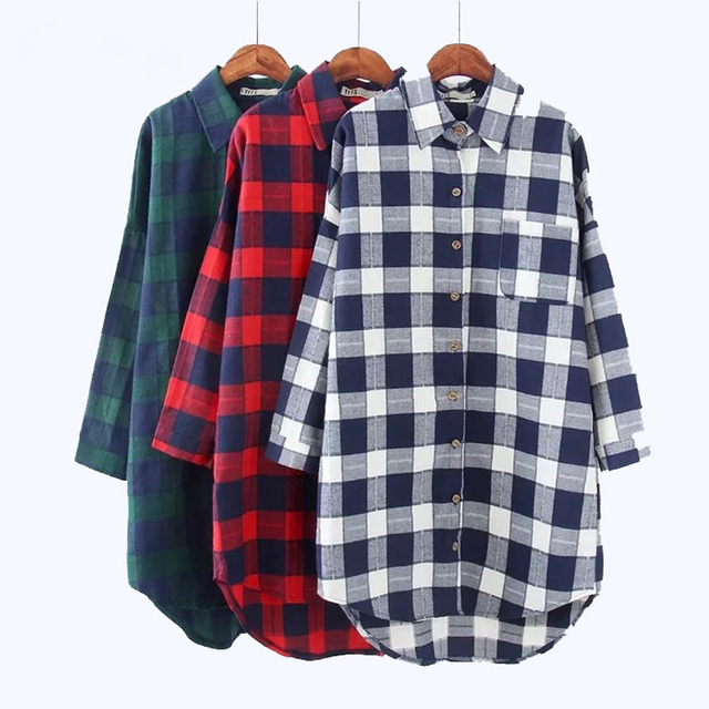 b3e61ed941 Korean Cotton Shein Tops Sale 2019 Spring Plaid Shirts Blouses Medium Long  Casual Loose Vintage Flannel Shirt Sleeve Plus Size