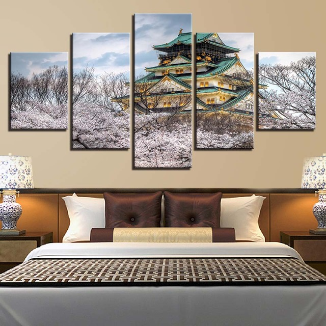 Canvas HD Printed Wall Art Pictures Home Decor 5 Pieces Simple And Elegant Osaka Castle Museum Paintings Cherry Blossoms Posters
