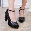 Zapatos de cuero genuinos de las mujeres zapatos de tacón alto bombas plataforma mujer bombas correa sy-2107