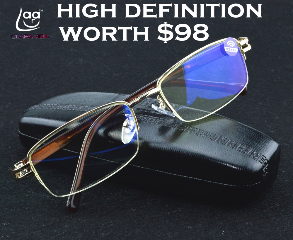 CLARA VIDA MEN GOLD SENATOR S ANTI BLUE RAY COMPUTER EYE PROTECTION HIGH QUALITY READING