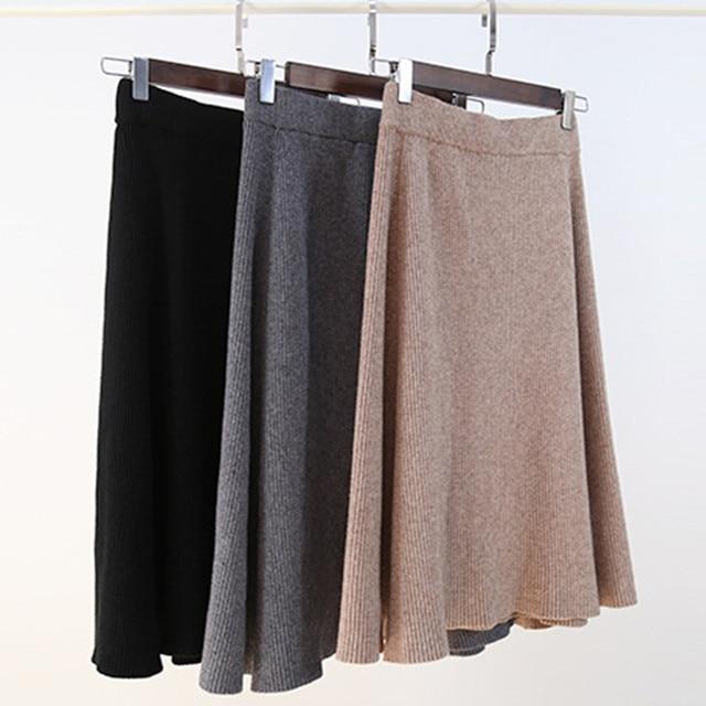 Черный, серый, хаки эластичный стрейч Высокая талия зонтик трапециевидной формы трикотажные юбки для женщин на осень-зиму женские миди Вязать Теплые юбки