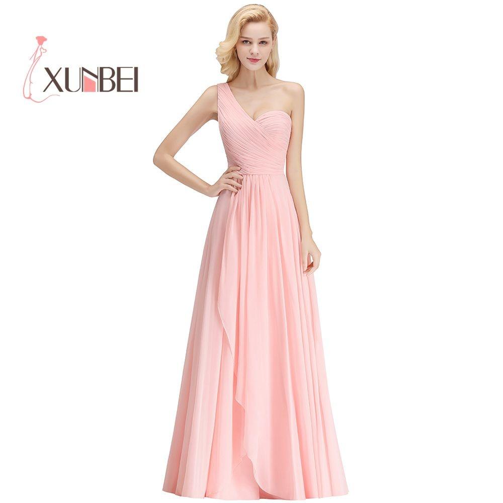 Vestido Dama De Honor One Shoulder Candy Pink Bridesmaid