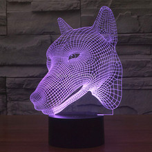 Free Ship 7 Multi Color Changing Hunting Dog 3D LED Night Light USB LED Decorative Table Lamp Desk Lighting