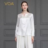 Voa шёлковый атласная белая футболка базовые офисные женские топы с длинными рукавами и Для женщин мягкая тенниска осень гладкая верхушка пл