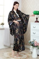 Free Shipping Black Vintage Japanese Women S Silk Satin Kimono Yukata Evening Dress Dragon Phenix One