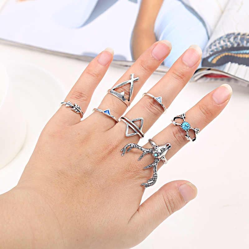 Anéis Da Junta para As Mulheres Oco Flor do vintage Azul Cristal Crown Antigo Cor Prata Anel Meio Dedo Homens Jóias