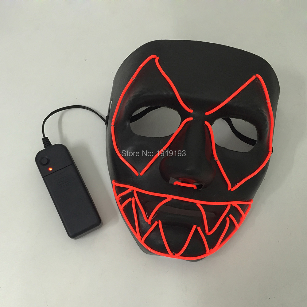 Scary Party Decor EL Wire Mask with Drive Light Up Rave Costume Fright Mask Horror Holiday Lights Led Neon Light Up Jagged Mask