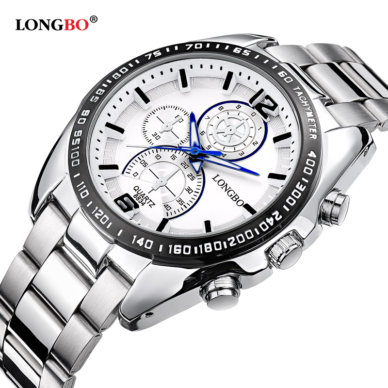 Longbo Military Men Stainless Steel Band Sports Quartz Watches Dial Clock For Men Male Leisure Watch Relogio Masculino 8834 yangte men watches waterproof quartz sports watch stainless steel clock male casual military wrist watch relogio masculino i88