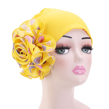 Double-layer Elasticity Flower Turban Cap Retro Fashion Print Hat Women Muslim Bandanas Headwear Elegant Hijab Headscarf