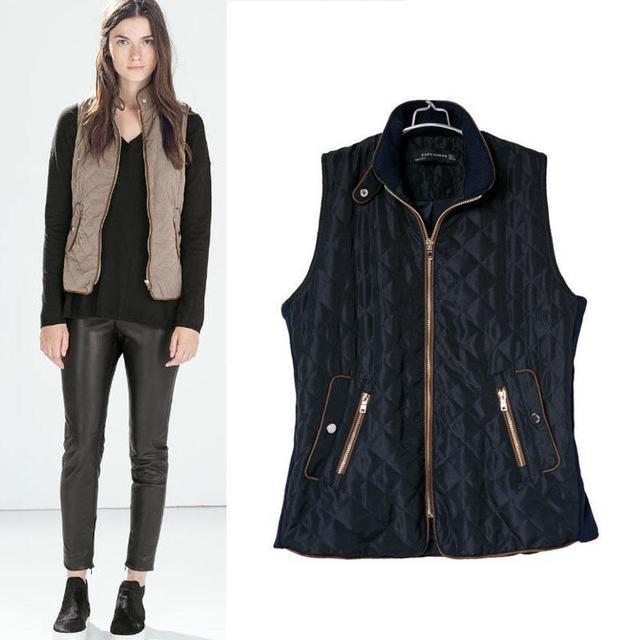 b0359f1ed9d45 2015 autumn fashion brand female vest women padded sleeveless bomber jackets  vintage outwear casual coats women Plus size