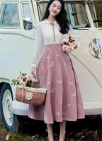 High Quality Hot Sale 2018 Autumn New Arrival Retro Hot Sale Peter Pan Collar Flower Embroidery Long Sleeve Woman Long Dress