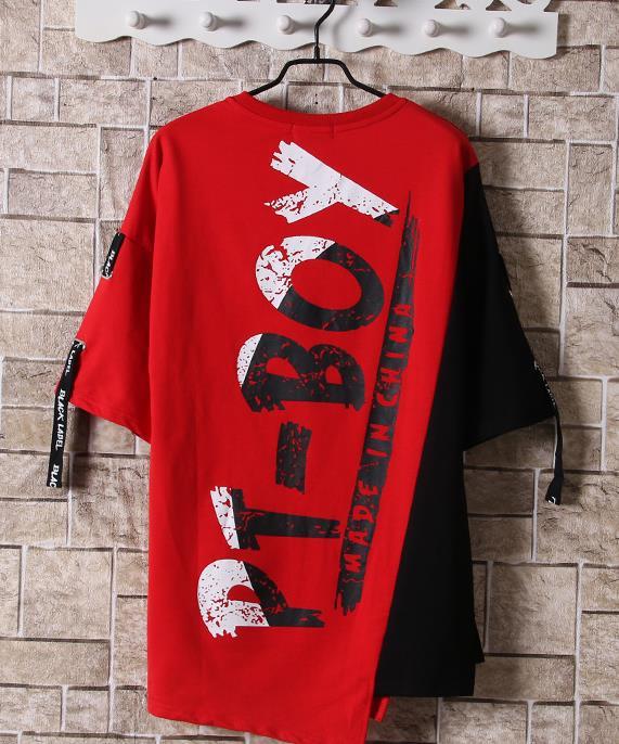 Hip Hop Patchwork Print T-shirts Men Streetwear tshirt Short Sleeve Irregular Hem 2019 Summer Spring Hip Hop Tops Tees Male 2