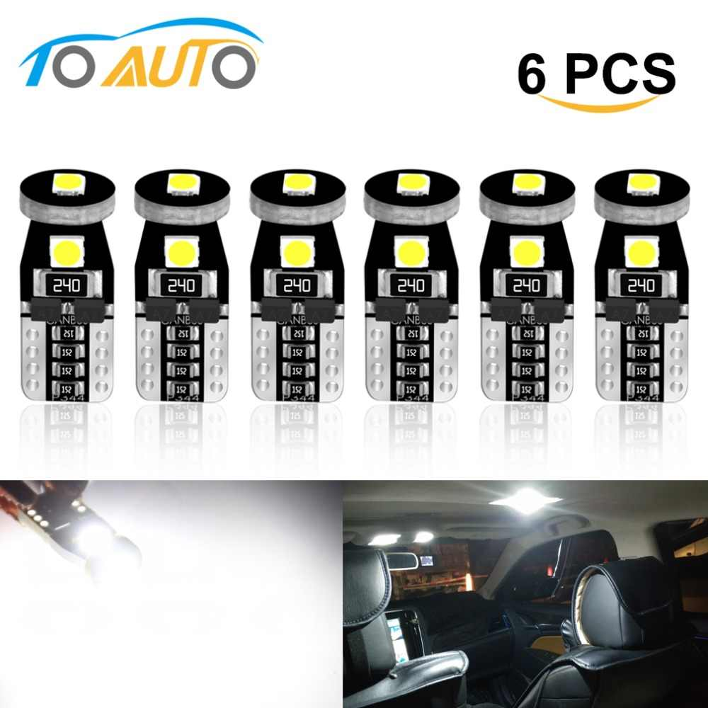 6pcs 194 168 T10 W5W LED Canbus Error Free LED Bulbs Super Bright 3030 Chips Car Dome Reading Lights License Plate Lamp Auto 12V