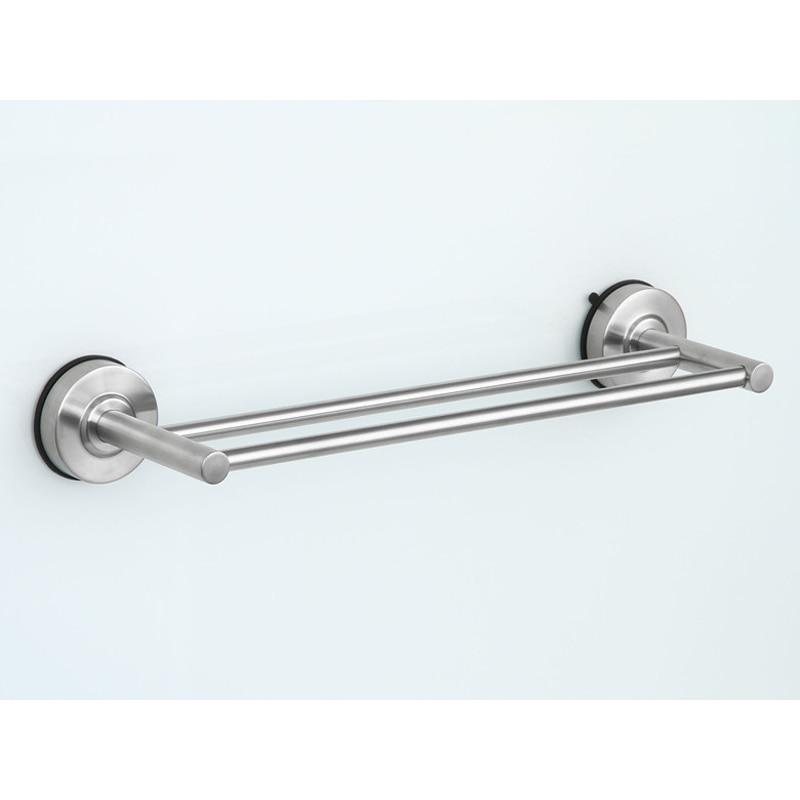 bathroom towel rack 40cm stainless steel double tier suction cup towel bars bathroom kitchen towel holder - Bathroom Towel Bars