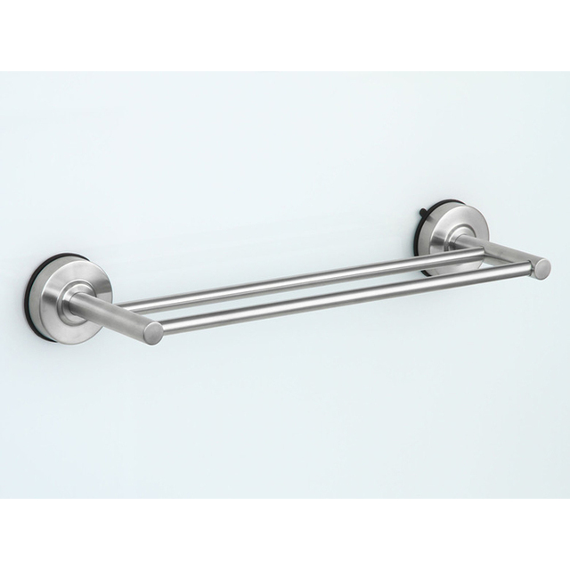 Bathroom Towel Rack 40cm Stainless Steel Double Tier Suction Cup ...