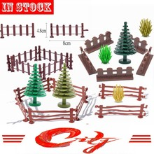 Mailackers Military Accessories MOC Parts Green Bush Flower Grass Tree Plants Guardrail Fence Building Block Kids Toys City Kits(China)