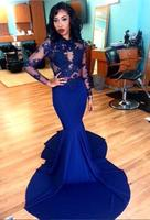 Royal Blue Sexy Transparent Long Sleeves Mermaid Evening Dresses Prom Gowns Sheer Bodice Court Train Jersey Party Dresses