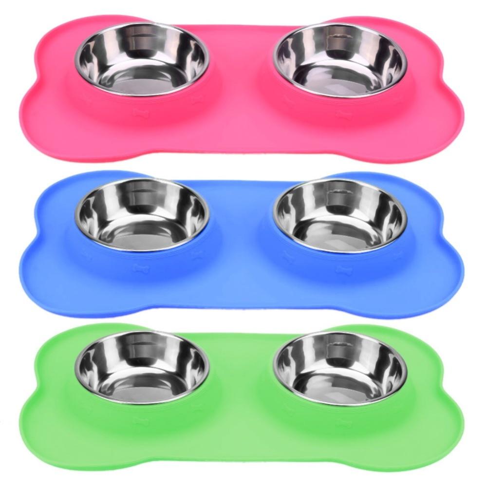 Double Dog Bowls Stainless Steel Bone Shape Food