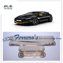 4 шт./лот, автомобильные наклейки из нержавеющей стали, стильные ультратонкие накладки на пороги для Renault Megane