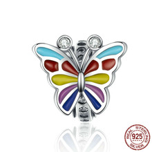 Colorful Butterfly Charms 925 Sterling Silver Enamel Charm For Women Luxury Brand Snake 3mm Bracelet Fine Jewelry Scc1195