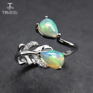 Image 3 - TBJ, pióro kamień pierścień z naturalnym etopian opal dobry ogień w 925 sterling silver fine jewelry dla dziewczyn z pudełko z biżuterią