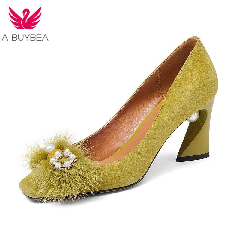 2018 Spring summer Kid Suede women shoes high heels gladiator sandals pearl strap women pumps point toe sexy sandalia feminina