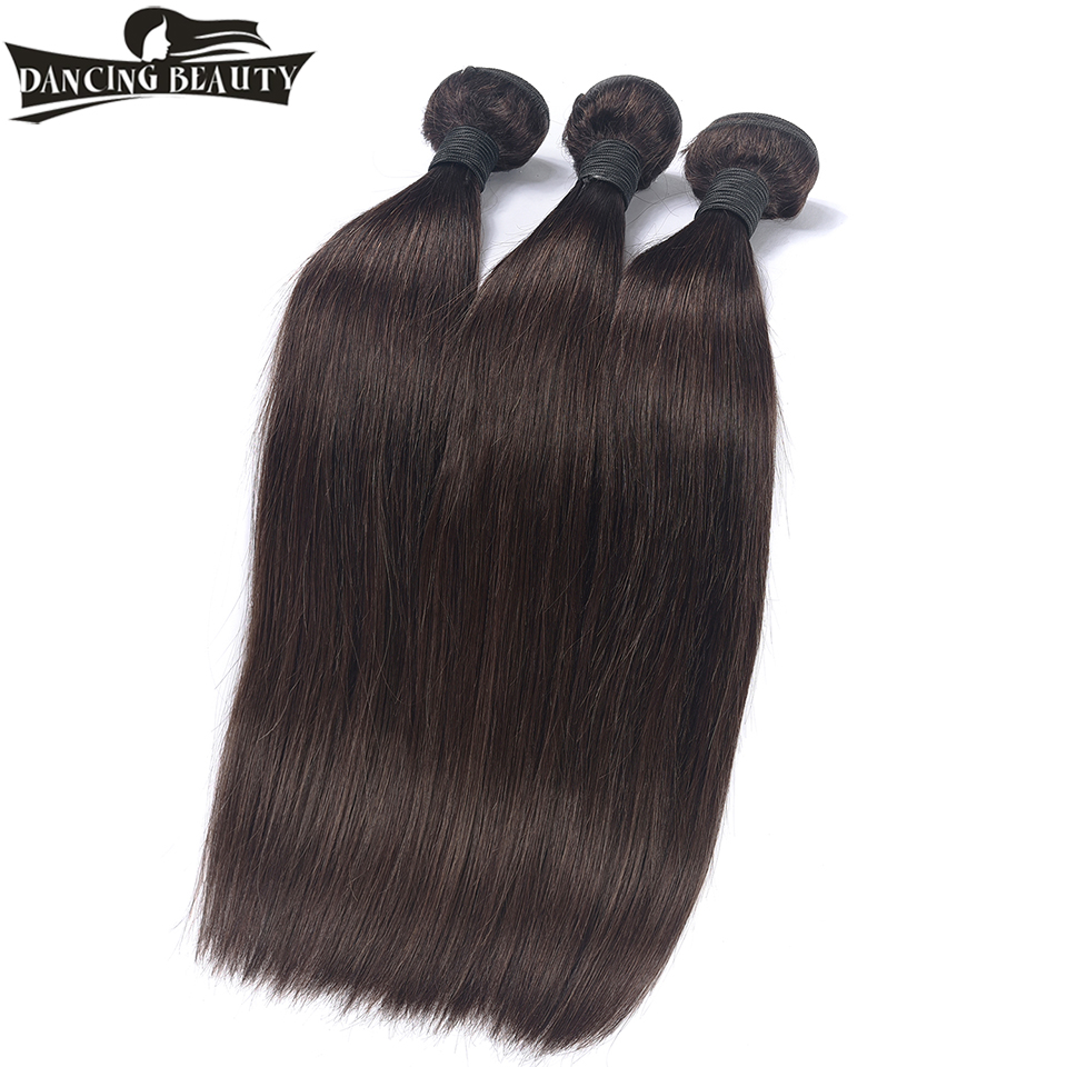 DANCING BEAUTY Pre-Colored Brazilian Straight Hair Bundles #2 Color Human Hair Weft Extensions Non Remy Hair Weave 3 Bundles