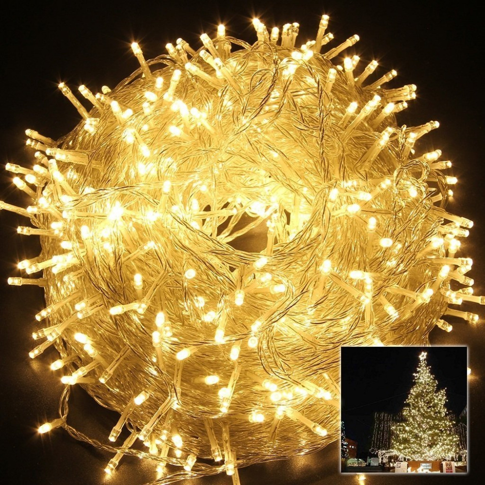328ft/100m 600 LED Christmas Lights String Fairy Lights for Indoor Outdoor Party Wedding Decoration, Transparent String line 20m 200 stars christmas fairy string lights window led room home garden party holiday decoration star lighting string