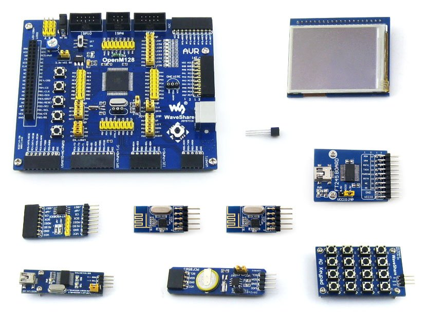 ATmega128A-AU ATmega128 AVR 8-bit RISC Evaluation Development Board + 9 Accessory Modules Kits = OpenM128 Package A open3s500e package a xc3s500e xilinx spartan 3e fpga development evaluation board 10 accessory modules kits