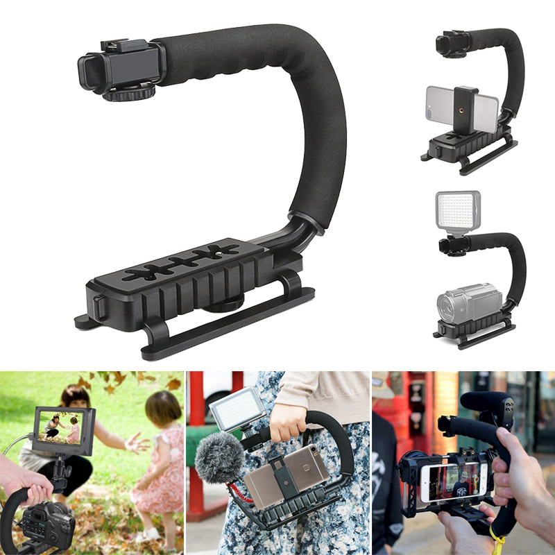 Video Handheld Stabilizer Camera Action Stabilizing Grip Handle for Canon Nikon Sony DV Camcorder LCC77 u grip video action stabilizing handle grip rig set with by mm1 videomicro phone led on camera light for iphone canon nikon