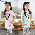 Hot sale baby girl strip minnie mouse clothes set Children's clothing suit wholesale summer girls shirt + culottes suit