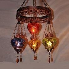 Color Glass Creative Bohemia Pendant Lights American Retro Iron Pendant  Lights Bar Shop Western Restaurant Lamps
