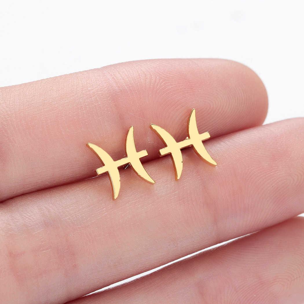 Kinitial แฟชั่น Chic สแตนเลส Zodiac Sign ต่างหู 12 Constellations Stud ต่างหูสำหรับผู้หญิงเครื่องประดับ brincos