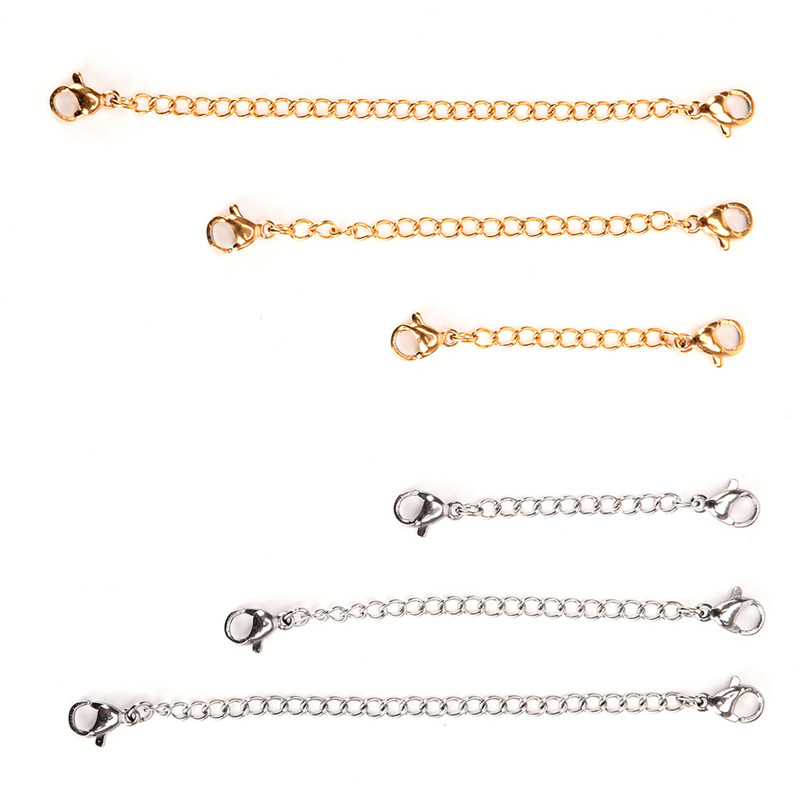 1 pcs 50mm/75mm/100mm Silver Gold Color Necklace Bracelets Anklets Extension Chain For DIY Jewelry Making Tools1 pcs 50mm/75mm/100mm Silver Gold Color Necklace Bracelets Anklets Extension Chain For DIY Jewelry Making Tools