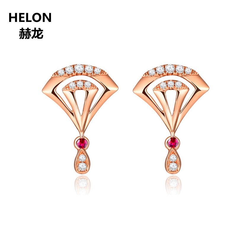 Solid 14k Rose Gold Women Natural Diamonds Engagement Wedding Earrings Genuine Ruby Stud Earrings Fine Jewelry solid 18k rose gold women natural diamonds stud earrings engagement wedding fine earrings jewelry gift