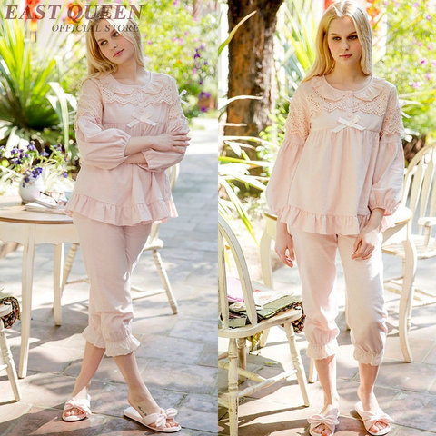 Women pajama sets in spring cute lace full length pants sleep & lounge sleepwear women pyjamas home clothes for female DD463  F Karachi