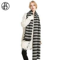 FS Schals Frau Schal Luxus Marke Kaschmir Winter Warme Schwarz Grau Gestreifte Lange Big Schal Mode Echarpe Hiver Femme Pashmina