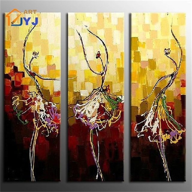 3 Panels Artwork Dance Life Hand Painted Oil Painting Canvas Big ...