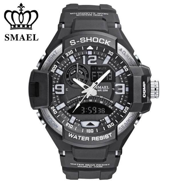 Smael marca hombres deportes cronógrafo relojes digitales a prueba de agua 5atm reloj led de alarma relojes de pulsera de cuarzo militar al aire libre
