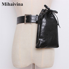 Mihaivina Alligator Handbag On The Belt Women PU Leather Waist Bag Fanny Pack Fashion Waist Pack Hip Bum Bags Female Bucket bags