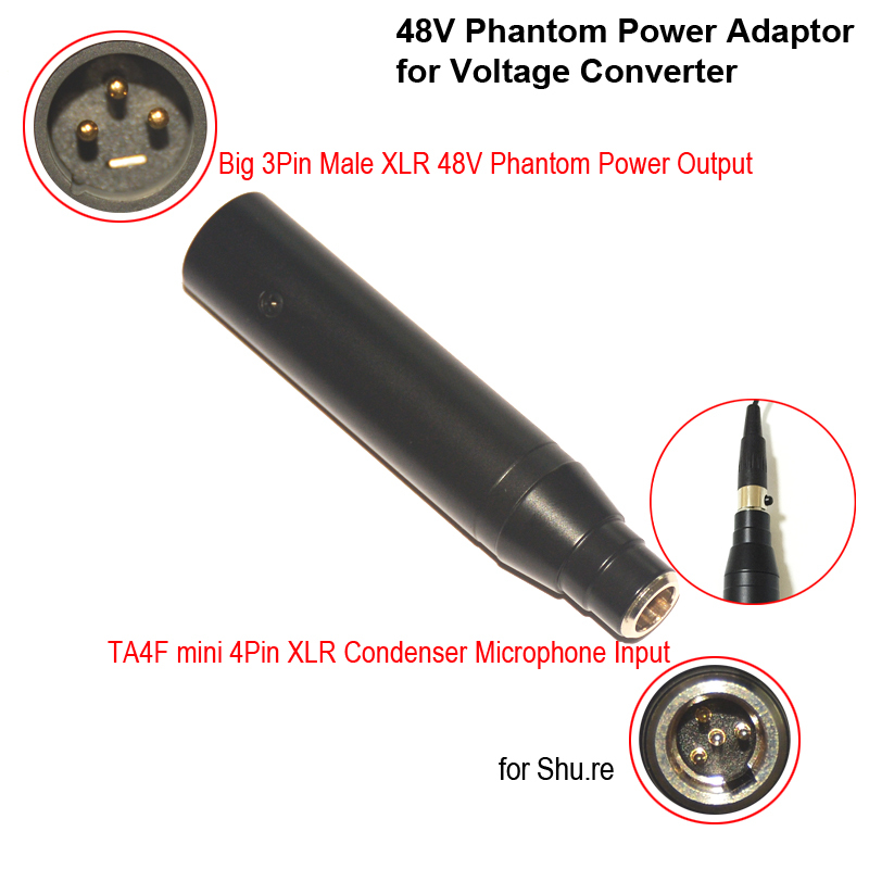 XLR 4 Best Quality 48V Instrument Microphone Phantom Power Adaptor of TA4F 4Pin Mini Male XLR xlr 4 best quality 48v instrument microphone phantom power adaptor ta4f to xlr wiring diagram at bakdesigns.co