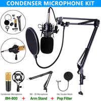 Professionnel bm 800 microphone à condensateur pour ordinateur audio karaoké mikrofon studio enregistrement micros ensembles