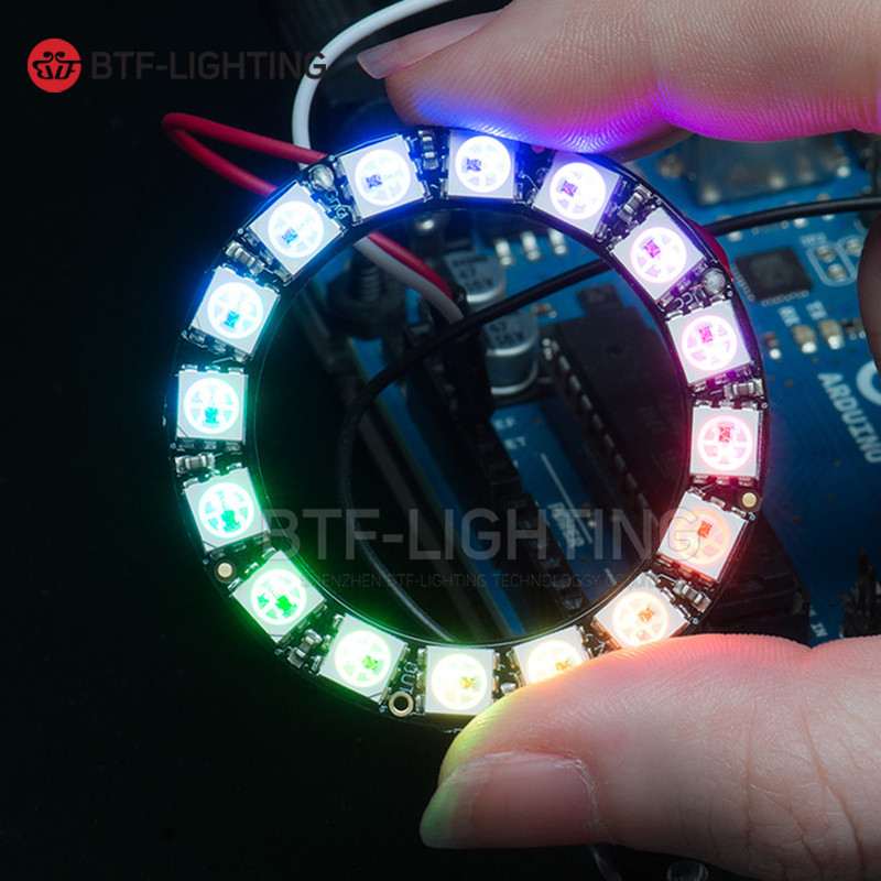 Ws2812b 16leds Pixel Ring Addressable Ring Modules DC5V Input RGB Full Color Round LED Circle Development Board