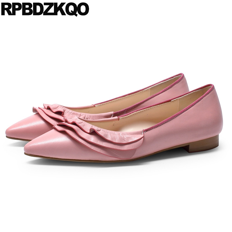 10 White Designer Shoes China Kawaii Flats Slip On Size 43 11 Large Handmade Pink Pointed Toe Genuine Leather Cute Women Ruffles 2017 vintage style real leather women flats brife pointed toe slip on handmade genuine leather designer shoes woman