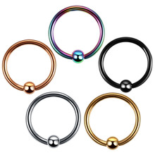 5 pcs/lot Baja Hidung Rings Colorful Captive Bead Rings Lip Ring Palsu Clip on Ear Cartilage Earring Piercing Fashion Jewelry 16g(China)
