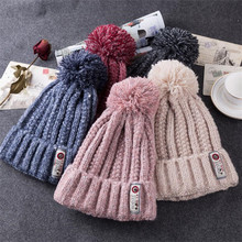(BUILT CLEAR) Skullies2017 new lady winter hat casual simple cloth hair ball blended wool hat autumn fashion warm knitted hat