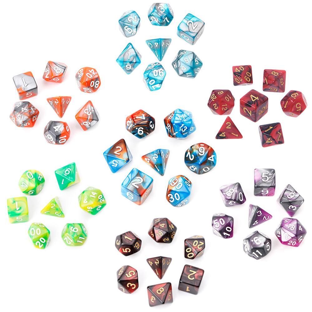 7 шт./компл. акриловые многогранные кубики для трпг Настольная игра «Подземелья и Драконы» D4-D20